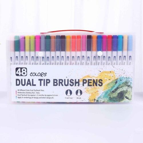 Marcadores-plumones Dual Tip Brush Pens -48unid.