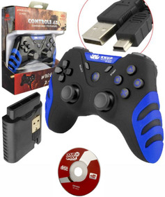 2controle Wireless S/ Fio Pc Ps1 Ps2 Ps3 Manete Recarregável