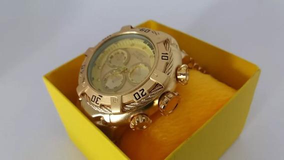 Relógio Masculino Todo Dourado Grande Thunder Frete Gratis