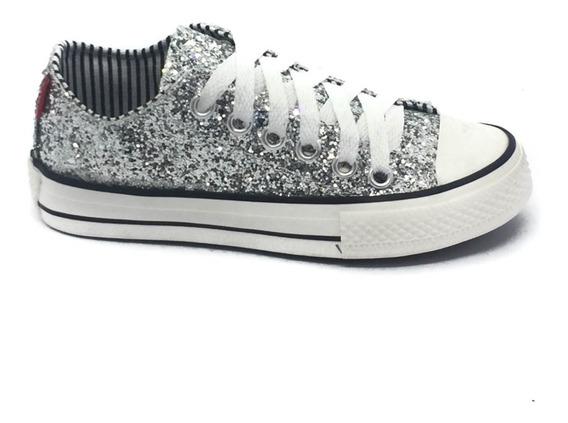 Zapatillas Nena Glitter Brillo Plateadas Cordon 23 Al 33