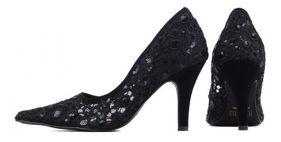 Sapato Feminino Scarpin Preto Com Renda De Salto Baixo Festa