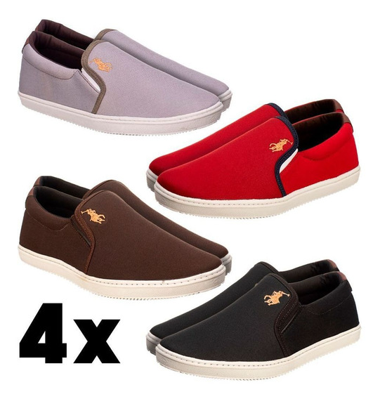 4 Pares Sapatênis Casual Masculino Marrom Cinza - Sf Shoes