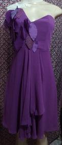 Vestido Violeta Crepe Se Forrado Tomara Q Caia P/m Semi Novo