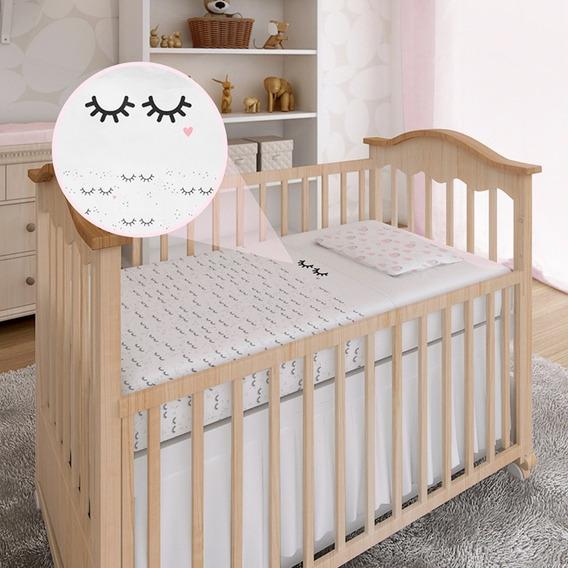 Lençol De Berço 3 Peças Tamanho Americano Enxoval Bebê