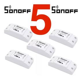 Kit 5 Sonoff Wifi Interruptor Sem Fio Relê Automação Relê