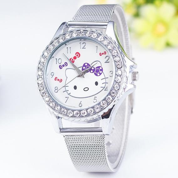 Relógio Infantil Meninas Hello Kitty De Aço Inoxidável