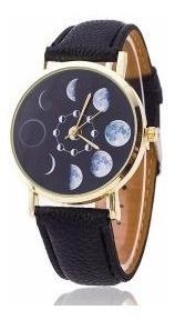 Relógio De Pulso Fases Da Lua Preto Horas Tempo Espacial