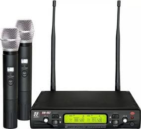 Microfone Sem Fio Duplo De Mão Sw482 Staner