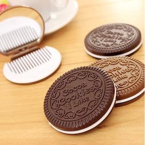 Espelho Em Formato De Bolacha Biscoito Com Pente Presente