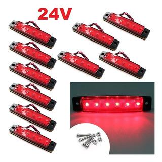 Kit 10 Lanternas Vermelhas 6 Leds 24v Caminhão Onibus