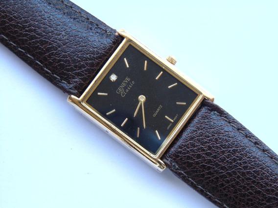 Relogio Classico Geneva Retangular Plaque Ouro Impecavel Pre