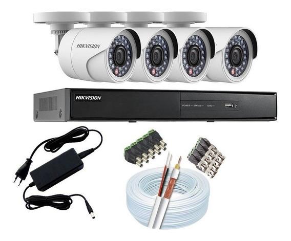 Kit Cftv Hikvision 4 Câmeras E Dvr Hd 960p 4 Canais S/ Hd