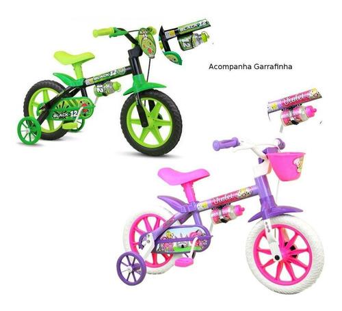 Kit 2 Bicicletas Infantil Nathor Aro 12 Black + Violet