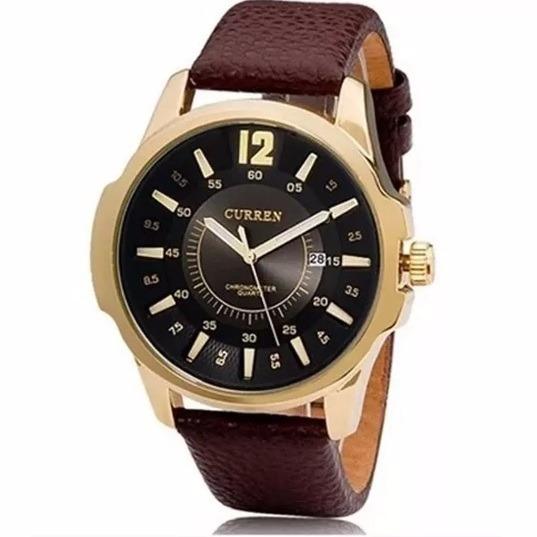 Relógios Masculino Curren Pulseira Couro Luxo Pronta Entrega
