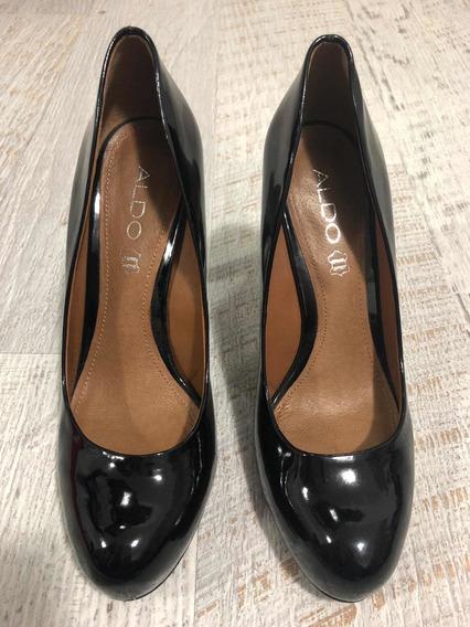Zapatos De Fiesta Aldo Charol Negro Talle 38. Impecables!!