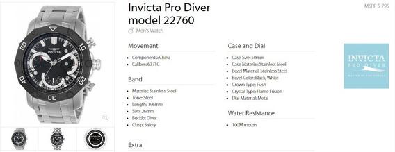 Relógio Invicta Pro Diver Em Aço Com Fundo Preto Ref 22760