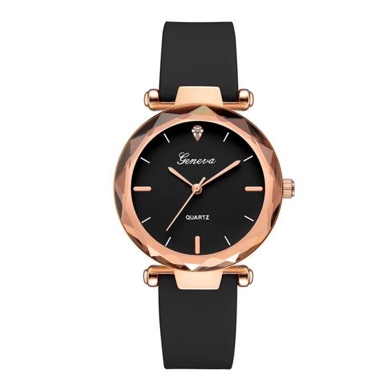 Relógio Feminino Pulseira Silicone Rosé Joia Barato Promoção