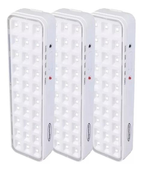 Kit 3 Luminária Luz De Emergência 30 Leds Premium Segurimax