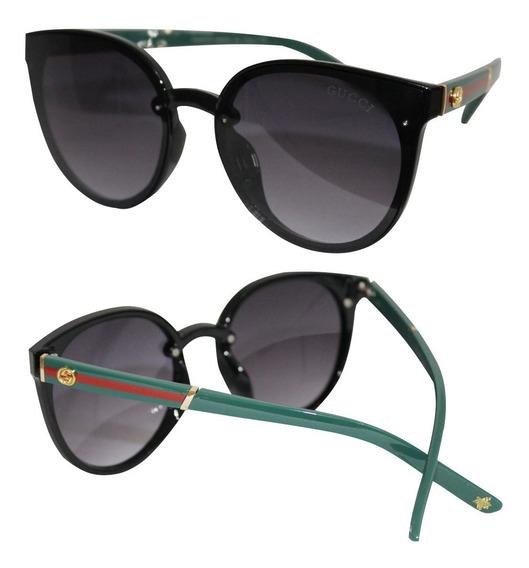 Óculos De Sol Redondo Feminino Lente Degradê Suave Uv400