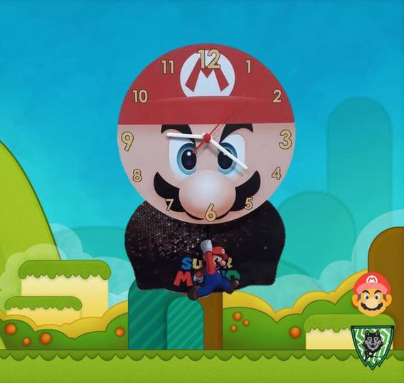 Relógio De Parede Super Mario Bros World Pêndulo N