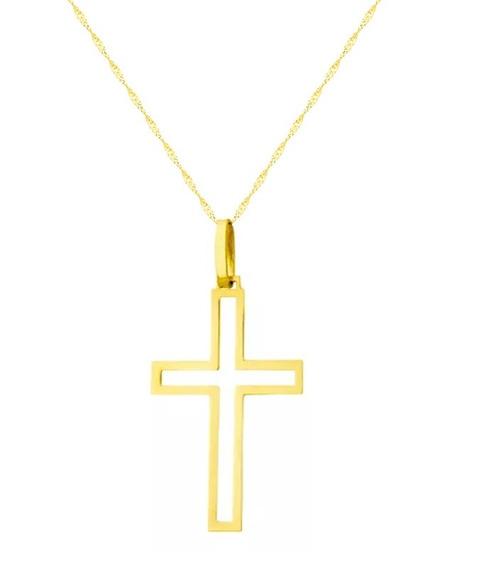 Colar De Ouro18k + Pingente Cruz Vazada Grd - Viagold M03