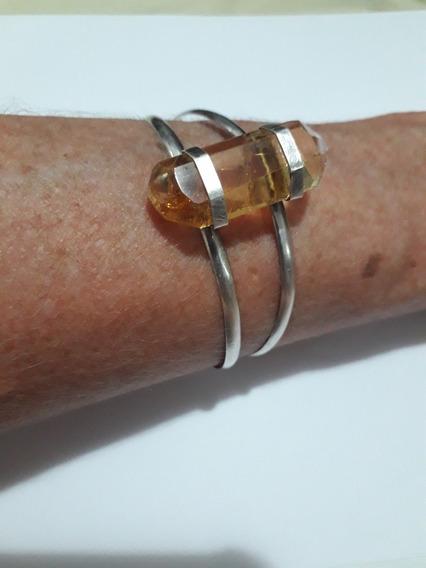 Pulseira Bracelete Prata Antiga Pedra Citrino - Top Antiguid