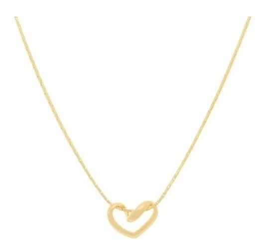 Gargantilha Rommanel Coração Vazado 530519 Folheado A Ouro