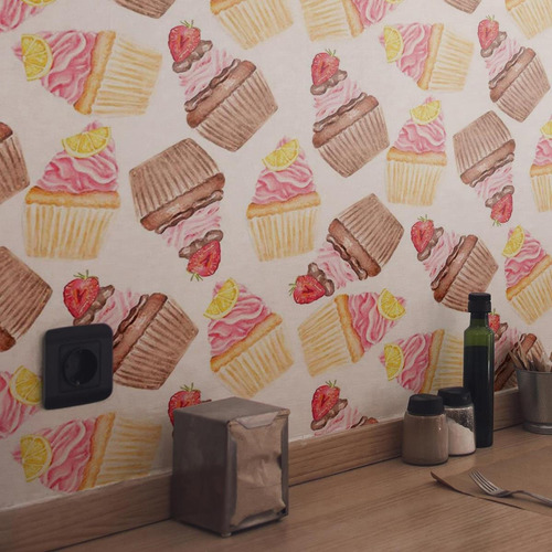 Papel De Parede Adesivo Delícia De Cupcakes N03112 Rolo De 0