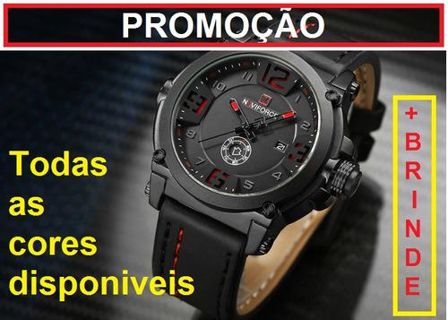 Promoção Relógio Masculino Naviforce 9099 Pulseira Couro Original