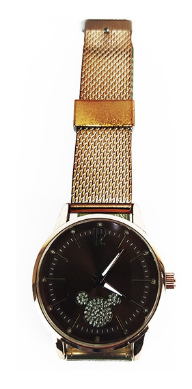 Relógio Feminino Efeito Metal Marrom Disney Fashion Quartz