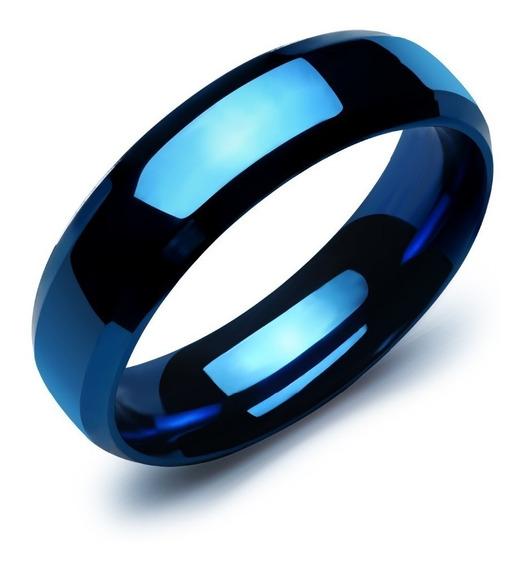 Anel Azul Tungstênio Aço 8mm