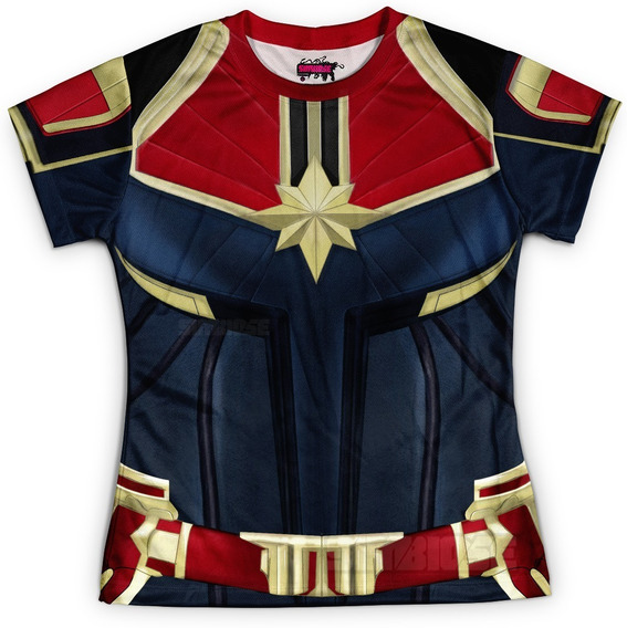 Camiseta Baby Look Feminina Capitã Marvel Traje Md02