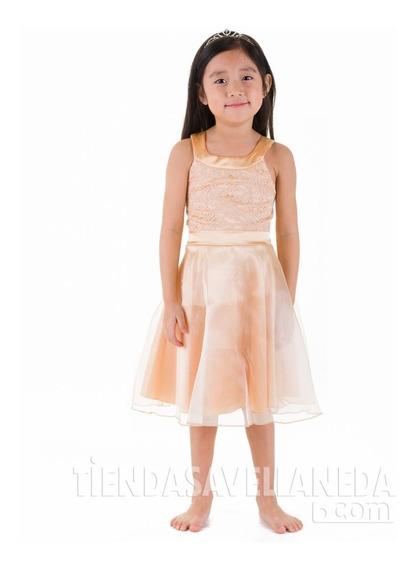 Vestido De Nena, De Organza, Con Encaje Brishka N-0062
