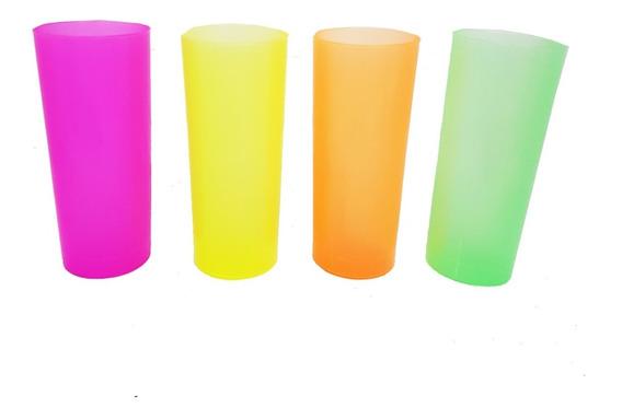 50 Vasos Fluo Trago Largo, Brillan Con Luz Uv