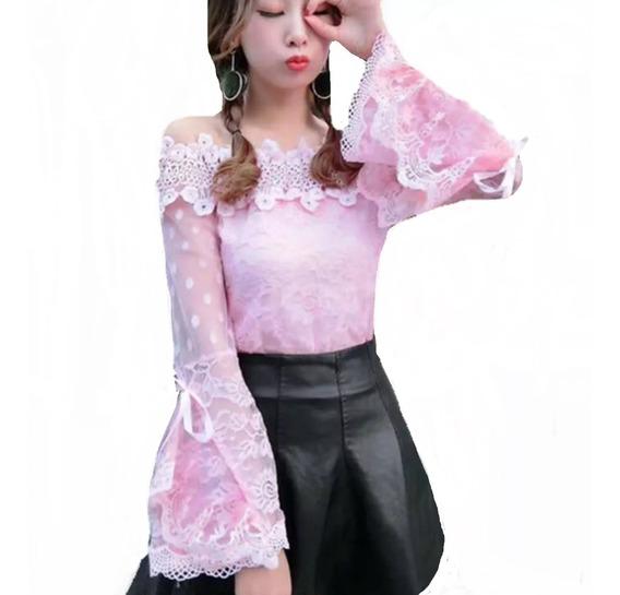 Blusa Camisa Feminina Social Renda Luxo Foto Real Moda