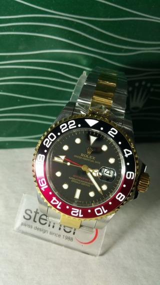 Reloj Gmt Master Ii, Bicolor Rojo Negro, Con Dorado