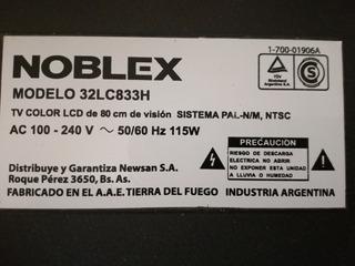 Placa Fuente Noblex Lcd Mod. 32lc833h Funcionando!!!