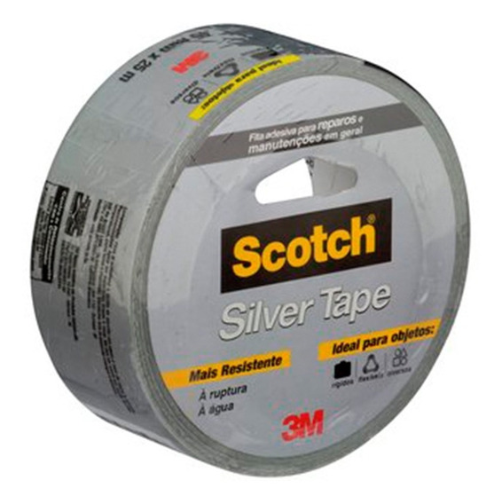 Fita Adesiva Silver Tape Scotch Cinza 45mm 25mts 3m Original