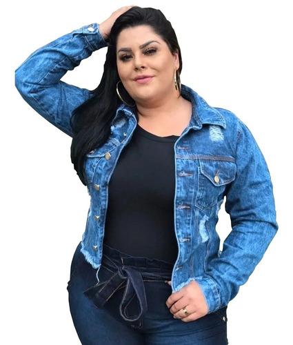 Imagem 1 de 5 de Jaqueta Jeans Feminino Plus Size Rasgada Blusa Agasalho Frio