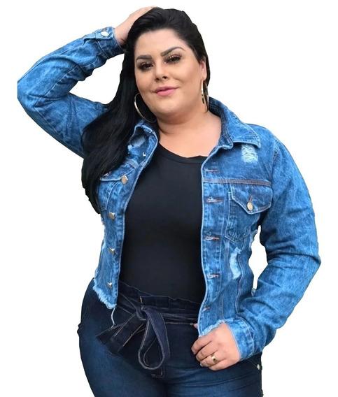 Jaqueta Jeans Feminino Plus Size Detalhe Rasgado G1 Ao G5
