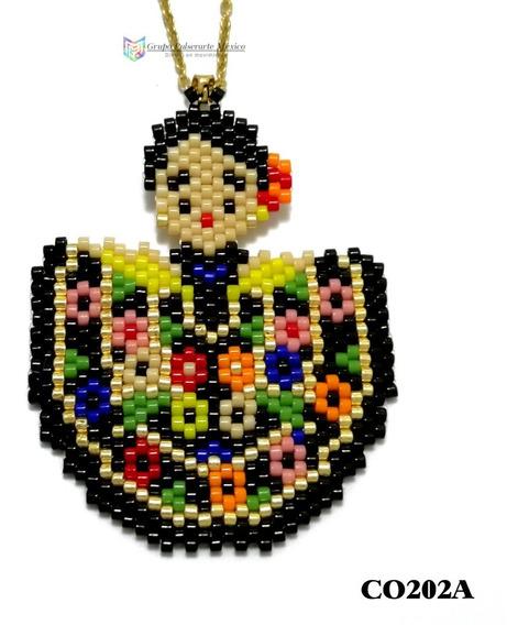 Collar Miyuki Frida-kahlo Traje Negro Acero Dorado