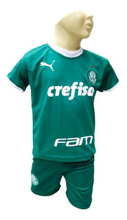 Conjunto Infantil Palmeiras Verdão Futebol Brasileiro Camisa E Shorts 2019