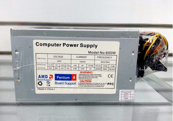 Fuente De Poder Atx 650w Pc 24p Intel Amd ($13) Laschimeneas