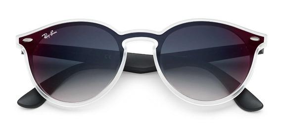 Óculos De Sol Ray Ban Blaze Round Rb4380 Preto Degradê Original