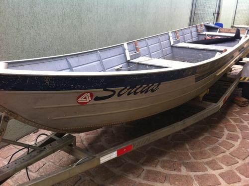 Barco Alumínio 6 Metros, Carretinha E Motor 15hp