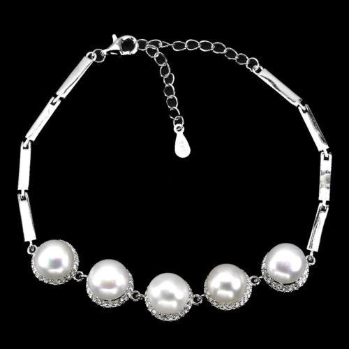 Pulsera Brazalete Plata Perla