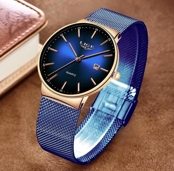 Relógio De Pulso Original Lige Aço Inox 2019 Barato Slim