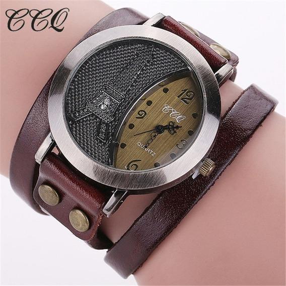 Relógio-pulseira Couro Feminino Vintage Marrom Env. Imediato