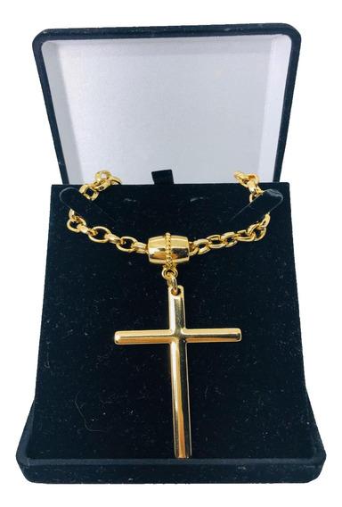 Colar Feminino Crucifixo Elo Português Grosso Frete Grátis