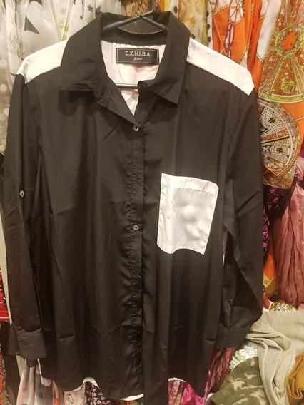 Camisa Combinada En Seda Tm Al Xl